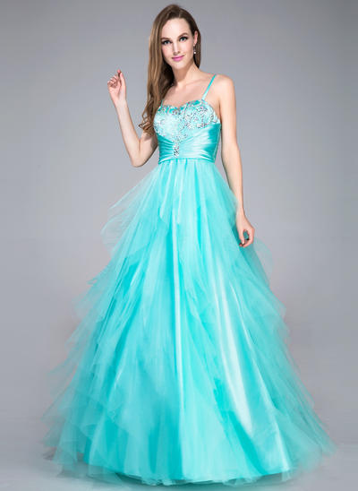 Tulle Sleeveless Ball-Gown Prom Dresses Sweetheart Beading Sequins Cascading Ruffles Floor-Length (018042716)