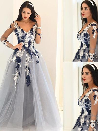 Tulle Long Sleeves A-Line/Princess Prom Dresses V-neck Appliques Lace Sweep Train (018210202)