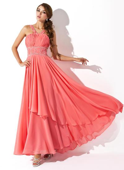 Chiffon Sleeveless A-Line/Princess Prom Dresses V-neck Ruffle Beading Sequins Floor-Length (018004805)
