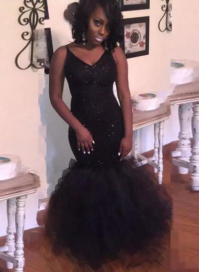 Tulle Sleeveless Trumpet/Mermaid Prom Dresses V-neck Sequins Floor-Length (018218640)