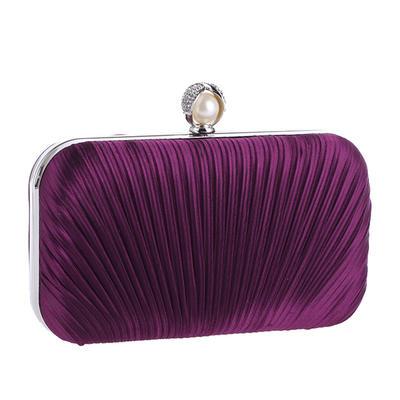 Fashion Handbags Ceremony & Party Satin Clip Closure Elegant Clutches & Evening Bags (012187740)