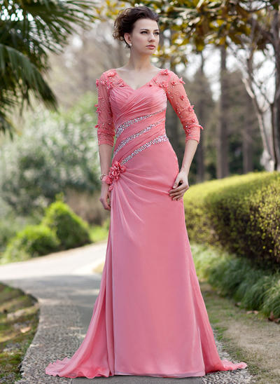 A-Line/Princess V-neck Chiffon 3/4 Sleeves Sweep Train Ruffle Beading Flower(s) Sequins Mother of the Bride Dresses (008211468)
