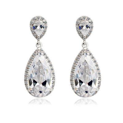 Earrings Zircon/Platinum Plated Pierced Ladies' Gorgeous Wedding & Party Jewelry (011164226)