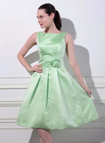 Satin Sleeveless A-Line/Princess Bridesmaid Dresses Square Neckline Flower(s) Knee-Length (007197554)