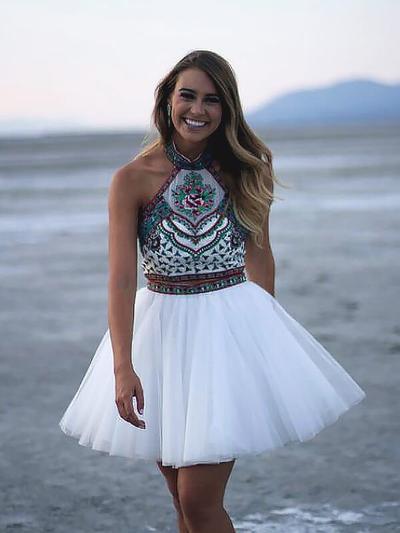 A-Line/Princess Halter Tulle Sleeveless Short/Mini Detachable Beading Homecoming Dresses (022212401)