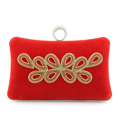 Clutches/Wristlets Wedding/Ceremony & Party/Casual & Shopping Suede Clip Closure Attractive Clutches & Evening Bags (012186702)