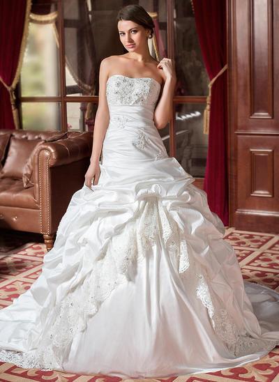 Luxurious Chapel Train Ball-Gown Wedding Dresses Sweetheart Taffeta Sleeveless (002004436)
