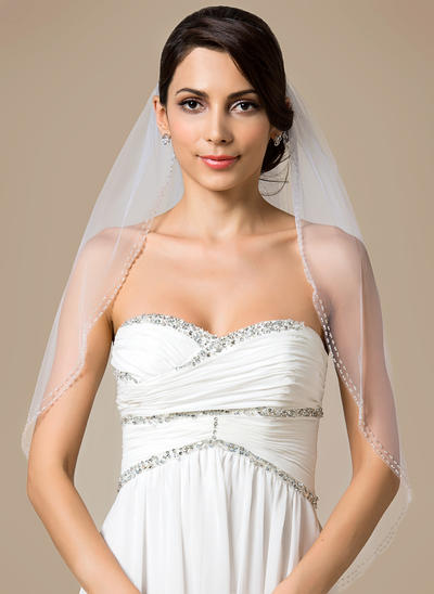 Fingertip Bridal Veils Tulle One-tier Classic With Beaded Edge Wedding Veils (006151792)