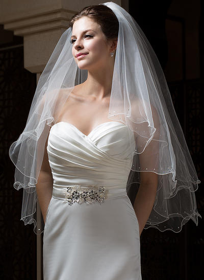 Fingertip Bridal Veils Tulle Two-tier Angel cut/Waterfall With Scalloped Edge Wedding Veils (006151079)