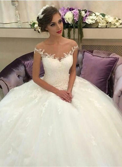 Magnificent Court Train Ball-Gown Wedding Dresses Off-The-Shoulder Tulle Lace Sleeveless (002146261)