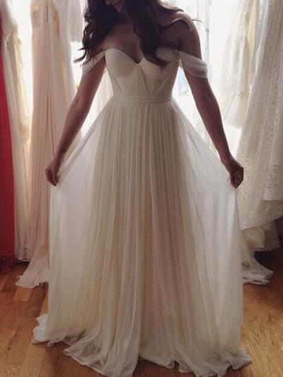 Simple Floor-Length A-Line/Princess Wedding Dresses Off-The-Shoulder Chiffon Sleeveless (002144829)