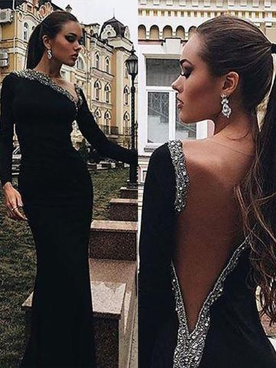 Trumpet/Mermaid V-neck Velvet Long Sleeves Sweep Train Beading Evening Dresses (017196698)