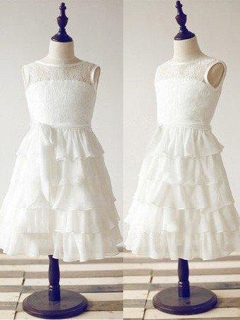 Sexy Ankle-length A-Line/Princess Flower Girl Dresses Scoop Neck Chiffon/Lace Sleeveless (010211947)