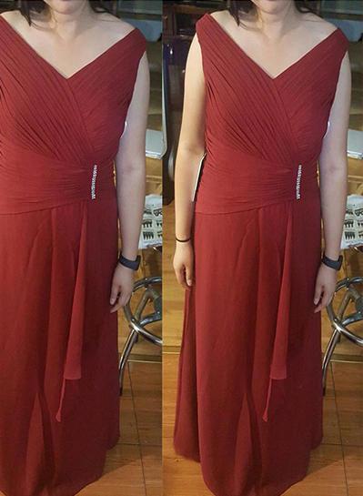 A-Line/Princess V-neck Chiffon Sleeveless Floor-Length Ruffle Beading Mother of the Bride Dresses (008212793)