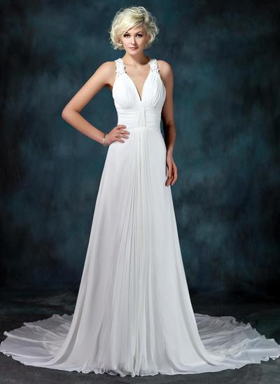 Newest Chapel Train A-Line/Princess Wedding Dresses Sweetheart Chiffon Sleeveless (002001675)