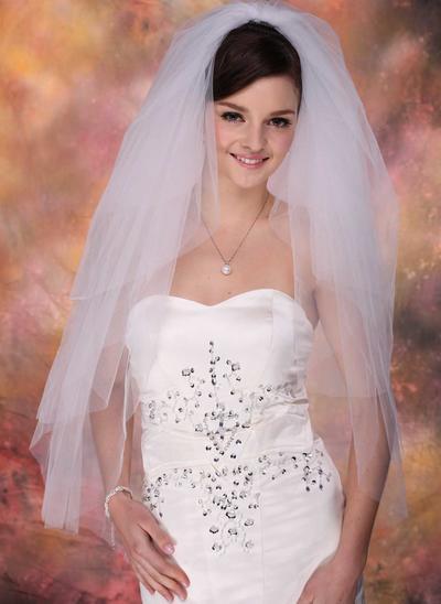 Fingertip Bridal Veils Tulle Four-tier Classic With Cut Edge Wedding Veils (006150849)