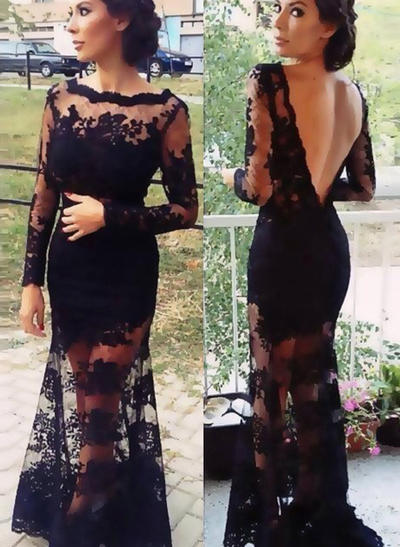 Lace Long Sleeves Trumpet/Mermaid Prom Dresses Scoop Neck Lace Sweep Train (018145857)