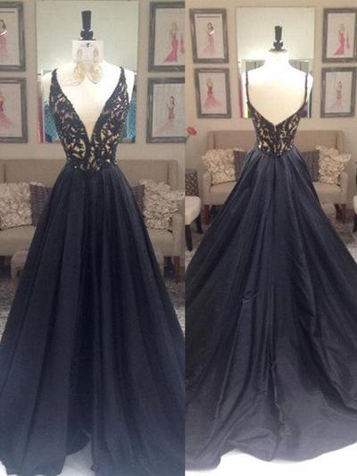 Taffeta Sleeveless A-Line/Princess Prom Dresses V-neck Beading Sweep Train (018210201)