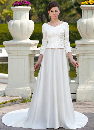 Luxurious Chapel Train A-Line/Princess Wedding Dresses Scoop Satin (002211322)