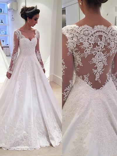 Modern Court Train Ball-Gown Wedding Dresses V-neck Satin Lace Long Sleeves (002144831)