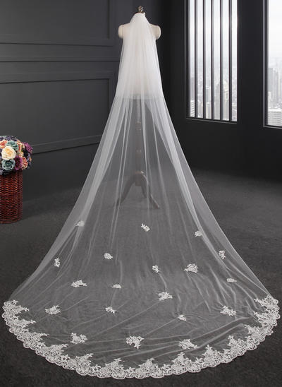 Cathedral Bridal Veils Tulle Two-tier Oval With Lace Applique Edge Wedding Veils (006152181)