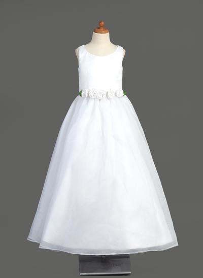 Elegant Floor-length A-Line/Princess Flower Girl Dresses Scoop Neck Organza Sleeveless (010005904)
