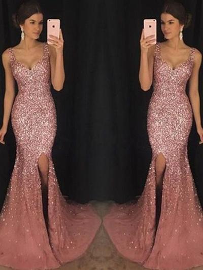 Sheath/Column Sweetheart Sequined Sleeveless Sweep Train Sequins Split Front Evening Dresses (017217811)