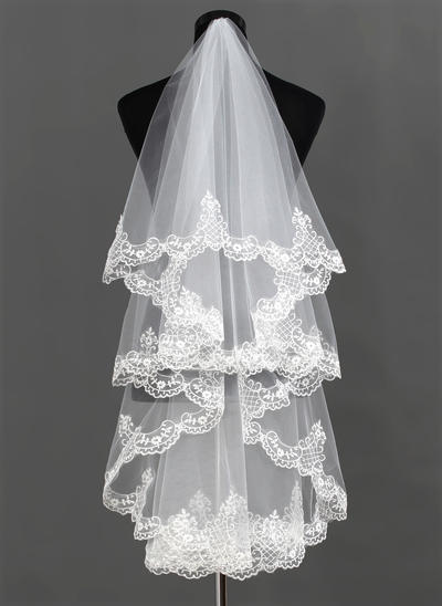Waltz Bridal Veils Tulle One-tier Classic With Lace Applique Edge Wedding Veils (006150914)