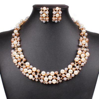 Jewelry Sets Alloy/Pearl Rhinestone Lobster Clasp Pierced Wedding & Party Jewelry (011166800)