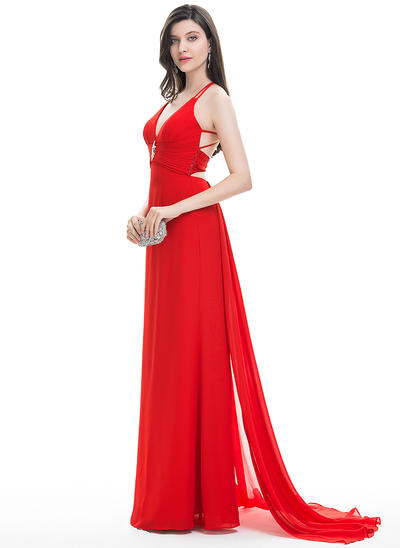 A-Line/Princess V-neck Sweep Train Chiffon Prom Dresses With Beading Cascading Ruffles (018113758)