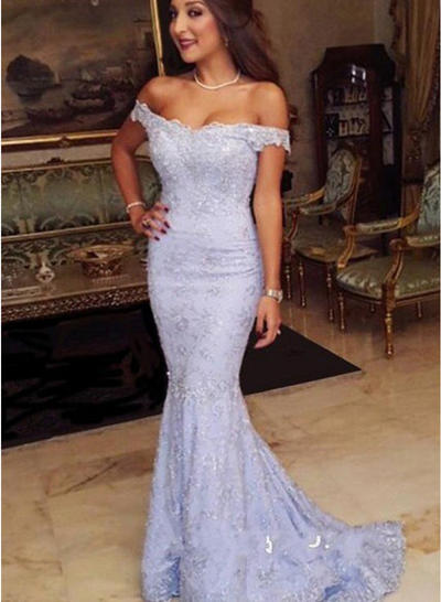 Trumpet/Mermaid Off-the-Shoulder Lace Sleeveless Sweep Train Evening Dresses (017145638)