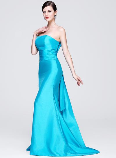Trumpet/Mermaid Strapless Taffeta Sleeveless Sweep Train Evening Dresses (017014276)