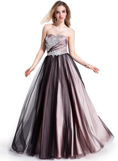 Charmeuse Tulle Sleeveless Ball-Gown Prom Dresses Sweetheart Beading Appliques Lace Floor-Length (018025295)