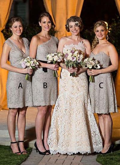 Lace Sleeveless A-Line/Princess Bridesmaid Dresses V-neck Cascading Ruffles Knee-Length (007212245)