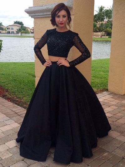 Satin Long Sleeves A-Line/Princess Prom Dresses Scoop Neck Beading Floor-Length (018145869)