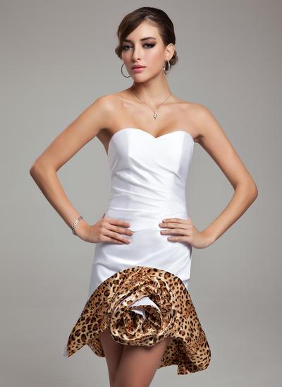 Sheath/Column Sweetheart Satin Sleeveless Short/Mini Ruffle Cocktail Dresses (016008794)