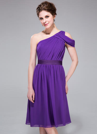 Chiffon Sleeveless A-Line/Princess Bridesmaid Dresses One-Shoulder Ruffle Knee-Length (007037298)