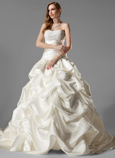 Delicate Chapel Train Ball-Gown Wedding Dresses Sweetheart Satin Sleeveless (002000451)