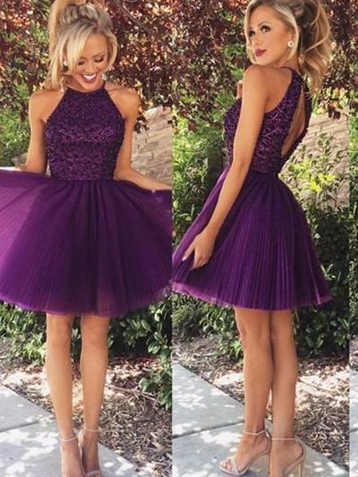 Tulle Sleeveless A-Line/Princess Prom Dresses Scoop Neck Beading Short/Mini (018218475)