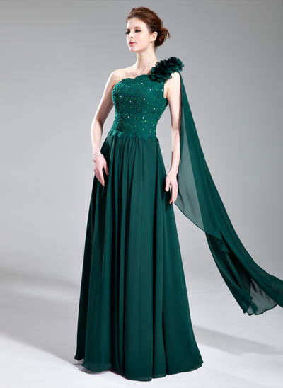 A-Line/Princess One-Shoulder Chiffon Lace Sleeveless Floor-Length Beading Flower(s) Evening Dresses (017019727)