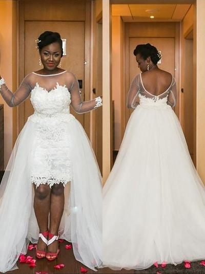 Stunning Asymmetrical Court Train A-Line/Princess Wedding Dresses Scoop Tulle Long Sleeves (002148002)