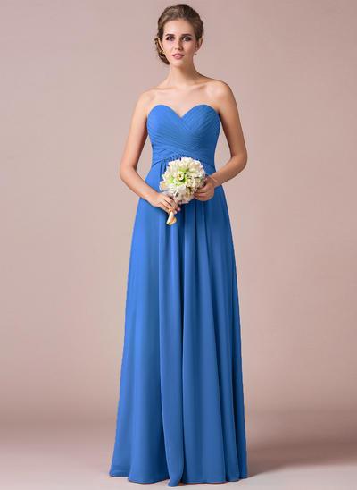 Chiffon Sleeveless A-Line/Princess Bridesmaid Dresses Sweetheart Ruffle Floor-Length (007063005)
