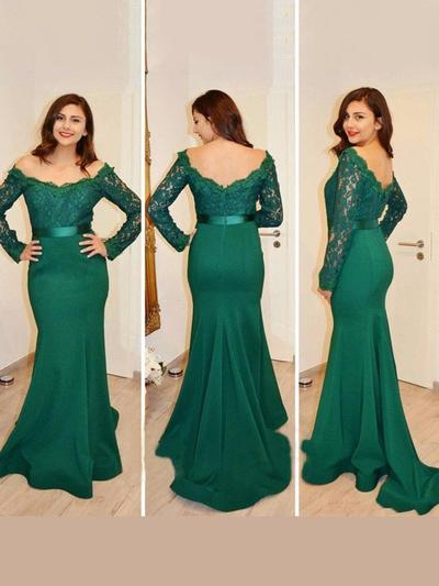 Jersey Long Sleeves Trumpet/Mermaid Prom Dresses Off-the-Shoulder Lace Sweep Train (018218616)