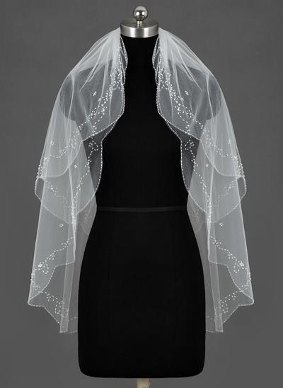 Fingerspitze Braut Schleier Tüll Zweischichtig Klassische Art/Ovale mit Perlenbesetzter Saum Brautschleier (006151303)