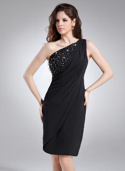 Sheath/Column One-Shoulder Chiffon Sleeveless Knee-Length Ruffle Beading Cocktail Dresses (016021233)