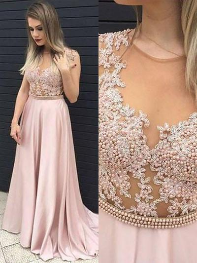 Satin Sleeveless A-Line/Princess Prom Dresses Scoop Neck Beading Appliques Lace Sweep Train (018210341)