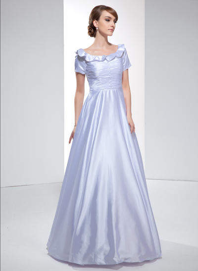 A-Line/Princess Off-the-Shoulder Charmeuse Short Sleeves Floor-Length Ruffle Evening Dresses (017022531)