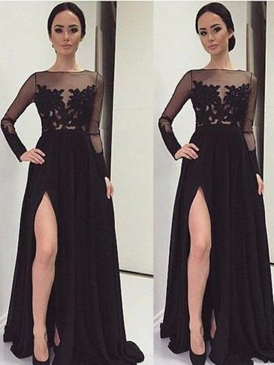 Chiffon Long Sleeves A-Line/Princess Prom Dresses Lace Floor-Length (018210236)