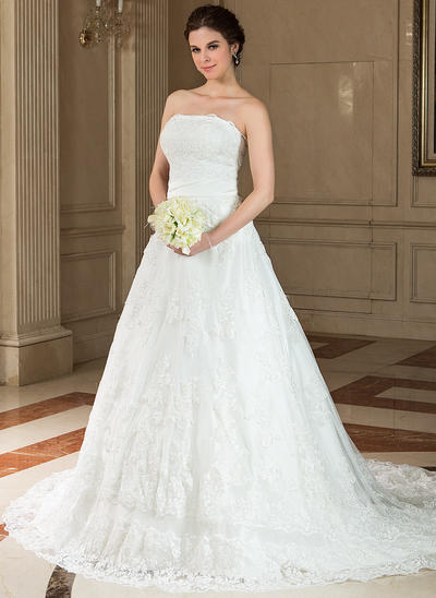 Gorgeous Chapel Train A-Line/Princess Wedding Dresses Strapless Satin Lace Sleeveless (002196832)