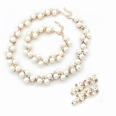 Jewelry Sets Alloy/Pearl Rhinestone Lobster Clasp Pierced Wedding & Party Jewelry (011164993)